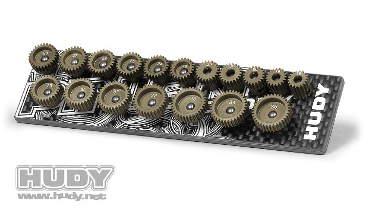 Hudy Set of 18 Alu Pinions 64P with Caddy 18T-35T