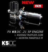 FX Engines K5 DC - Combo: Engine +659502 Muffler 2108 +659704 Manifold M